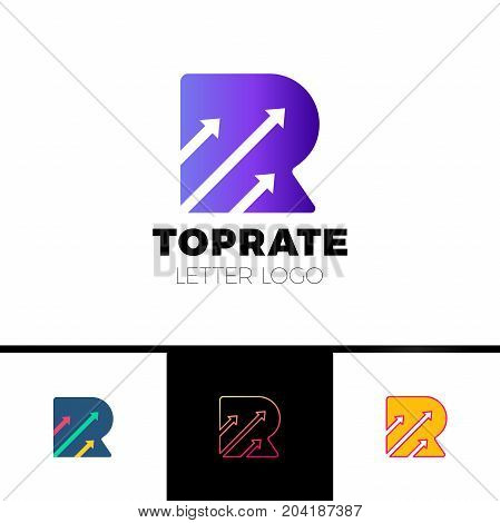 Letter R Logo With Three Negative Space Arrow Logo For Transportation, Delivery Company Etc.