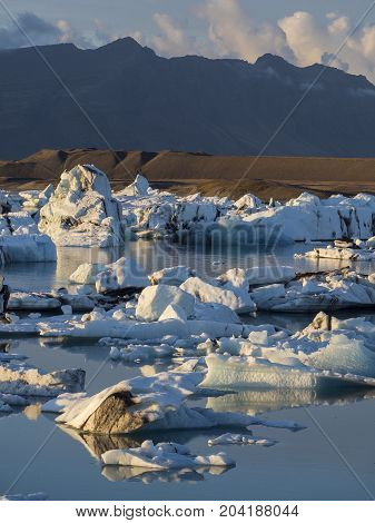 Icebergs in Jokulsarlon glacier lagoon on the south coast of Iceland