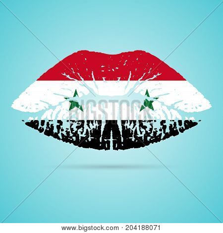 Syria Flag Lipstick On The Lips Isolated On A White Background. Vector Illustration. Kiss Mark In Official Colors And Proportions. Independence Day