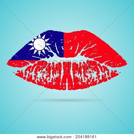 Taiwan Flag Lipstick On The Lips Isolated On A White Background. Vector Illustration. Kiss Mark In Official Colors And Proportions. Independence Day