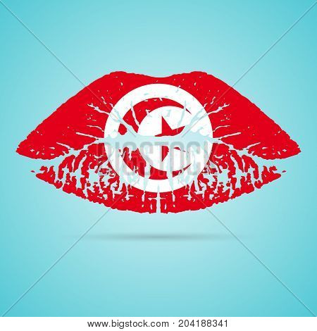 Tunisia Flag Lipstick On The Lips Isolated On A White Background. Vector Illustration. Kiss Mark In Official Colors And Proportions. Independence Day
