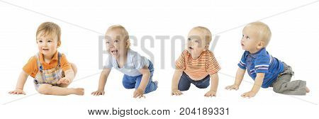 Baby Boys Group Crawling Infant Kids Toddler Children Isolated over White background