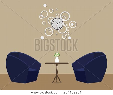 Two blue armchairs on a background of the wall with a round clock. There is also a table with flowers in the picture. Vector illustration.