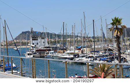 Beaches and port of Barcelona Mediterranean sea
