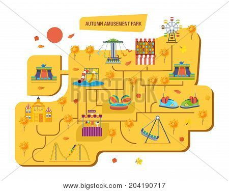 Autumn amusement park for children with carousels, roller coaster, attractions and fun games. Landscape city. Kids playground. Modern vector illustration isolated on white background.