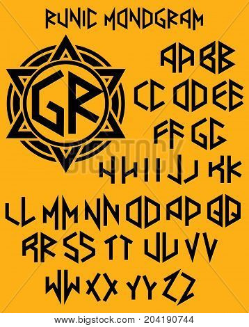 vector monogram pattern with set of two-sided letters in runic style