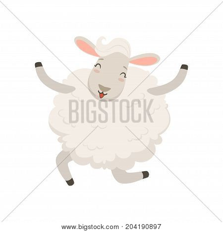 Cute happy white sheep character jumping vector Illustration on a white background