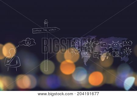 Man Thinking About Peace Next To World Map Filled With Negativity And Road Sign With Text Change The