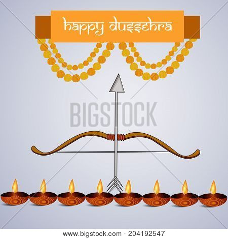illustration of bow, arrow, lamps and decoration with Happy Dussehra text on the occasion of hindu festival Dussehra