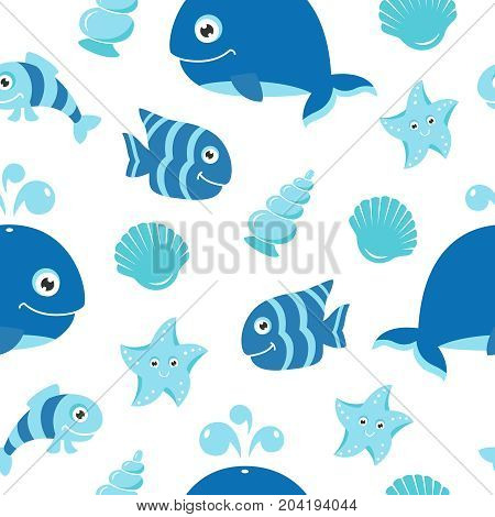 Cute seamless pattern with cartoon sea animals for baby shower scrapbooking and birthday designs