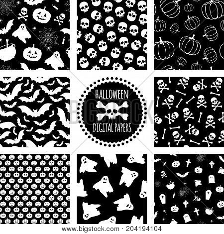 Set of black and white Halloween patterns. Vector seamless pattern for Halloween. Seasonal holiday wrapping paper.