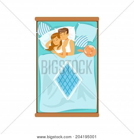 Embracing young couple sleeping on the bed, relaxing man and woman vector Illustration