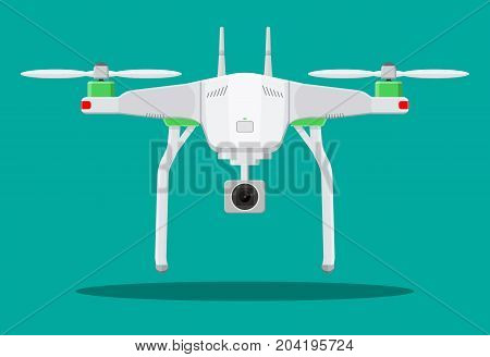 Remote controlled aerial drone. Quadcopter drone with camera for photography or video. Contemporary unmanned aircraft. Vector illustration in flat style