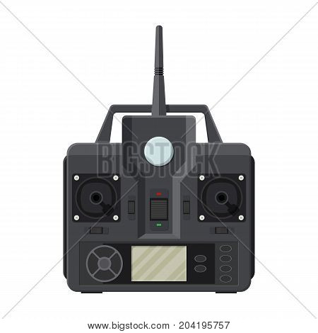 Remote controller for car, drone, fly and other devices and toys. Remote control panel with display and sticks. Vector illustration in flat style