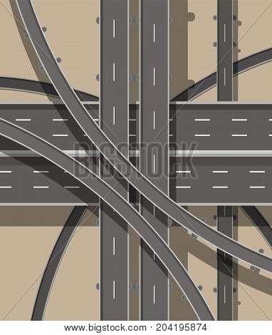 Modern roads and transport. Top view. Road and highway junction. Intersections and overpasses. Above view. Vector illustration in flat style