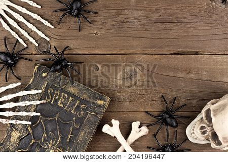 Halloween Corner Border Of Black And White Decor Over A Rustic Old Wood Background