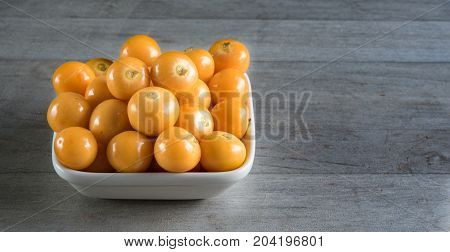 Healthy eating: Golden berries also called cape gooseberries Incan berries or ground cherries are fruits rich in antioxidant and anti inflammatory substances