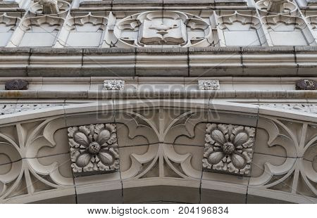 Toronto, Canada: Old Architecture Detail Of Downtown Buildings