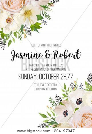 Wedding Invitation invite card Design: pink peach Rose flower orchid anemone camellia white flowers black berry wax plant leaf bouquet corner lovely border crown print. Vector cute floral garden