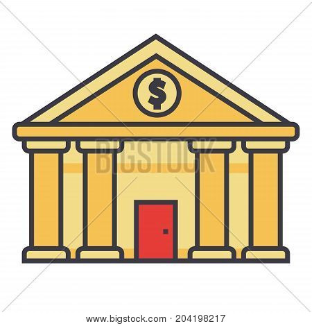 Bank, court of justice flat line illustration, concept vector icon isolated on white background