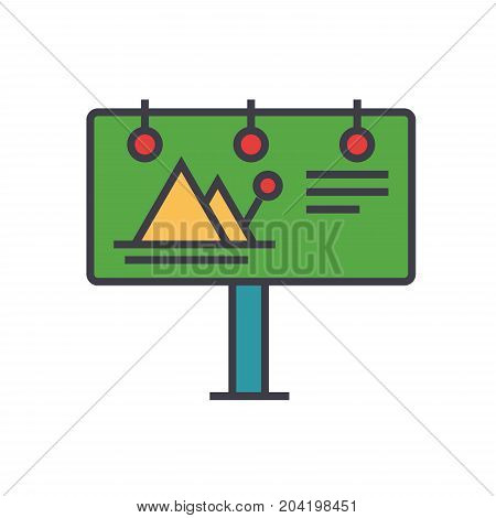 Billboard, advertising flat line illustration, concept vector icon isolated on white background