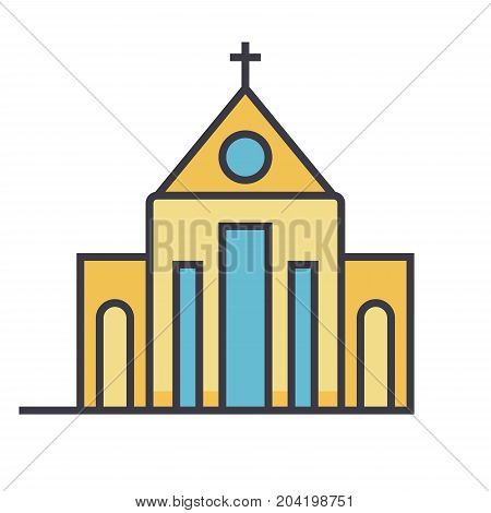 Church flat line illustration, concept vector icon isolated on white background