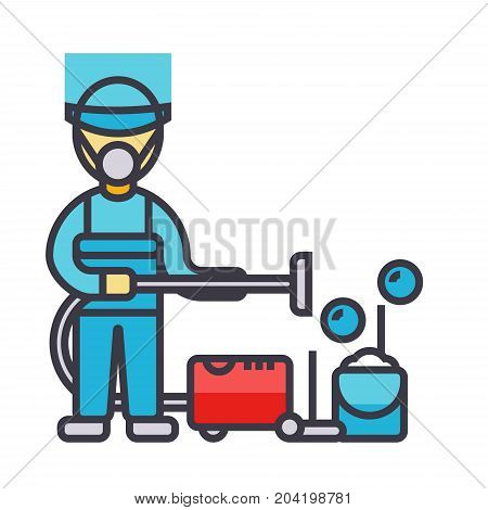 Cleaning service, houskeeping man, cleaner with vacuum cleaner flat line illustration, concept vector icon isolated on white background