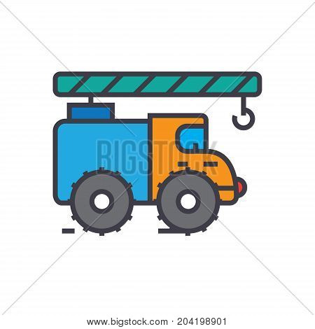 Crane truck, construction vehicle flat line illustration, concept vector icon isolated on white background