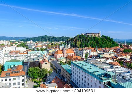 Landscape of the Slovenian capital Ljubljana with the calstle