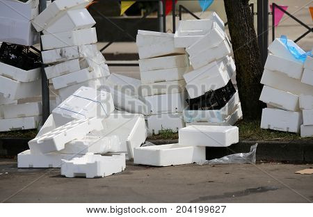 Polystyrene Boxes On The Ground In A Square