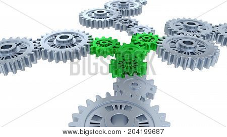 3D illustration of Side and Perspective View of Several Silver Gears and Four Green with a white background