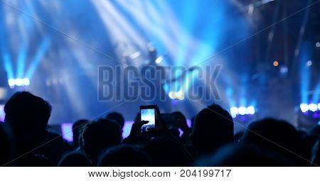 Smartphones During The Live Concert Of A Rock Band