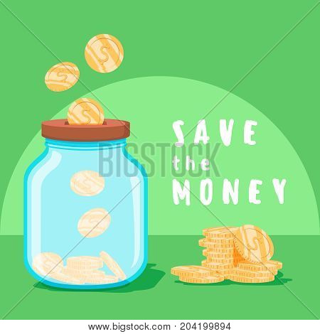 Save money concept. Saving dollar coin in jar. concept vector illustration Flat design style vector illustration. Money in the glass can. Invest Growing Business. Money in jar, coins in finance banking concept