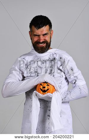 Halloween Character In White Long Sleeved Ghost Costume