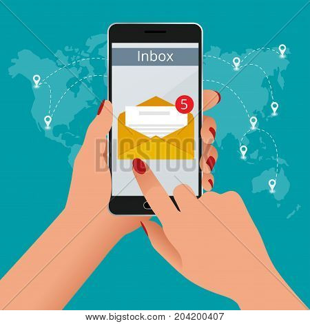 Woman received an e-mail online on a mobile phone. Message online Incoming email isometric vector concept. Receiving messages.