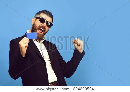 Business, Success, People At Work Concept. Guy With Happy Face
