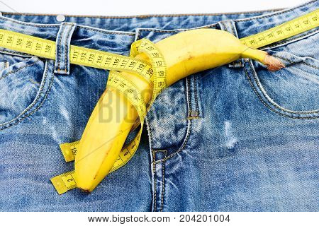 Health And Male Sexuality Concept: Jeans Crotch And Banana