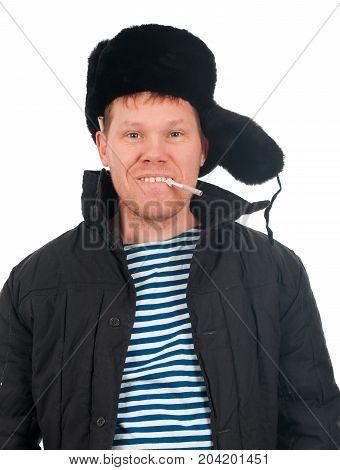Russian Man In Winter Fur Cap