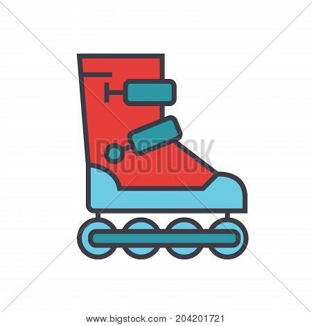 Roller skates flat line illustration, concept vector icon isolated on white background
