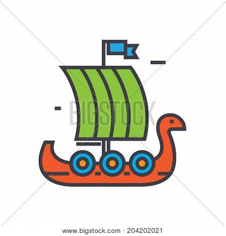 Viking wooden ship flat line illustration, concept vector icon isolated on white background