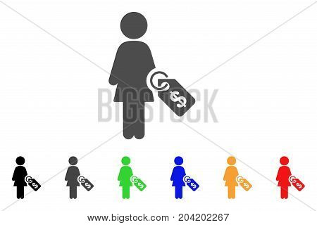 Woman Price Tag icon. Vector illustration style is a flat iconic woman price tag symbol with black, gray, green, blue, red, orange color additional versions. Designed for web and software interfaces.