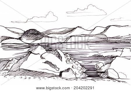 Instant sketch lake in the mountains between rocks