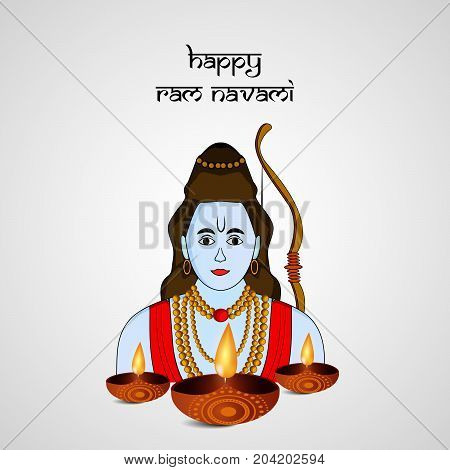 illustration of hindu god Ram and lamps with Happy ram navami text on the occasion of hindu festival Dussehra