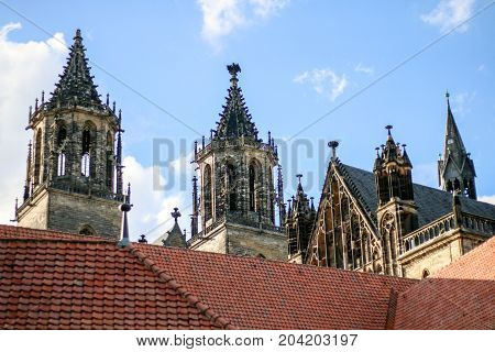 MAGDEBURG, GERMANY - SEPTEMBER 13, 2017: Tower of Cathedral.
