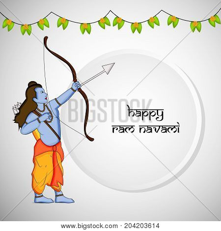 illustration of hindu god Ram and decoration with Happy ram navami text on the occasion of hindu festival Dussehra