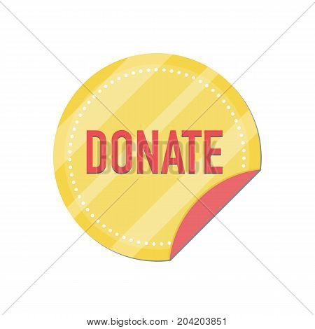 Donate button with gold coin. Help gold icon donation. Gift charity. Isolated support design sign. Contribute, contribution, give money, giving symbol. Vector illustration
