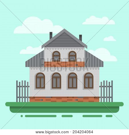 Country Old Brawn House. Colorful Village Russian Old House. Countryside Colored Wood House. Cute Ou