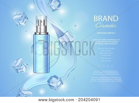Ice toner ads with ice cubes. Blue spray bottle, water drops, realistic vector illustration, sparkling effect, waves background.