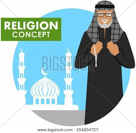 Islamic senior man with beads in hands pray. Muslim old person standing on the background silhouette of mosque and minarets. Vector illustration.