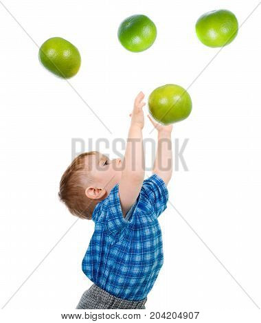 Boy Caughts Flying  Grapefruit